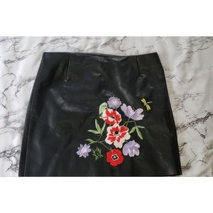 Pleather Embroidered Skirt